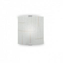 Aplique de pared moderno, Serie Garza, armazón metálico, 1 luz, con difusor de vidrio curvado decorado.