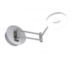 Aplique de pared para cabecero, Serie Niky, armazón metálico en acabado níquel satinado, brazo articulado