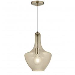 Lámpara de techo colgante clásico, Serie Laos, armazón metálico en acabado cuero, 1 luz