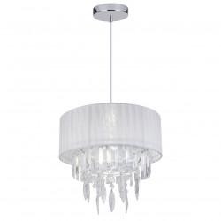 Lámpara de techo clásica, armazón metálico en acabado cromo brillo, 1 luz, con pantalla de tela