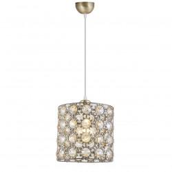 Lámpara de techo colgante retro, Serie Agata, armazón metálico en acabado cuero, 1 luz, con elementos decorativos de cristal.
