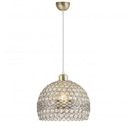 Lámpara de techo colgante clásico, armazón metálico en acabado cuero, 1 luz, con elementos decorativos de cristal.