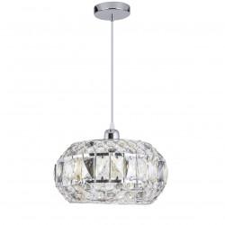 Lámpara de techo colgante moderno, Serie Riane, armazón metálico en acabado cromo brillo, 1 luz
