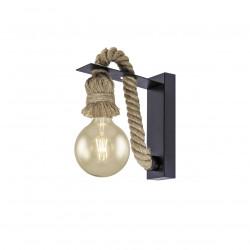 Aplique de pared retro, Serie Rope, armazón metálico en acabado negro, y cuerda, 1 luz E27, SIN bombilla.