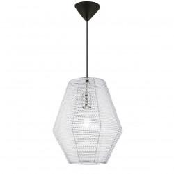 Lámpara de techo colgante moderno, Serie Yurta, pendel negro, 1 luz, con difusor de aluminio.
