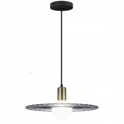 Lámpara de techo colgante moderno, Serie Niza, armazón metálico en acabado negro y cuero, 1 luz