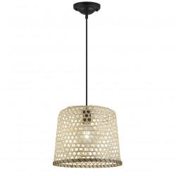 Lámpara de techo colgante moderno, Serie Lagoa, armazón metálico en acabado negro, 1 luz, con pantalla de bambú.