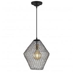 Lámpara de techo colgante moderno, Serie Masai, armazón metálico en acabado negro, 1 luz