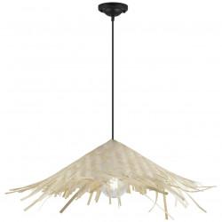 Lámpara de techo colgante moderno, Serie Pipper, armazón metálico en acabado negro, 1 luz, con pantalla de bambú.