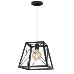 Lámpara de techo colgante retro, Serie Garden, armazón metálico en acabado negro, 1 luz, con pantalla metálica en acabado negro.