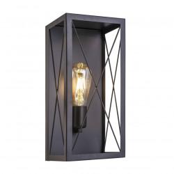 Aplique de pared retro, Serie Garden, armazón metálico en acabado negro, 1 luz, SIN bombilla.