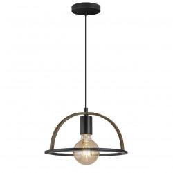 Lámpara de techo colgante retro, Serie Balta, armazón metálico en acabado negro, 1 luz, SIN bombilla.