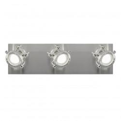Aplique de pared tipo focos 3 luces, Serie Olbia, armazón metálico en acabado níquel satinado, cabezales orientables.