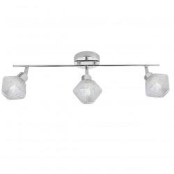 Aplique de pared, regleta tipo foco 3 luces, Serie Ozadi, armazón metálico en acabado cromo brillo