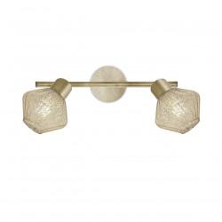 Aplique de pared, regleta tipo foco 2 luces, Serie Ozadi, armazón metálico en acabado cuero