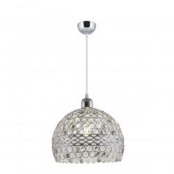 Lámpara de techo colgante, Serie Airana, armazón metálico en acabado cromo brillo, 1 luz, pantalla