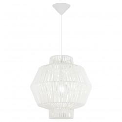 Lámpara de techo colgante moderno, Serie Balbec, pendel blanco, 1 luz, con pantalla de cuerda blanca.