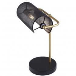 Lámpara de sobremesa retro, Serie Bufete, armazón metálico en acabado negro y dorado, 1 luz