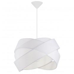 Lámpara de techo colgante moderno, Serie Fractal, pendel blanco, 1 luz, con pantalla de tela en acabado blanco.
