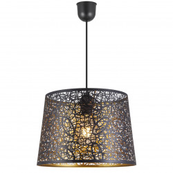 Lámpara de techo colgante moderno, Serie Grasse, pendel negro, 1 luz, con pantalla metálica