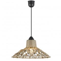 Lámpara de techo colgante, Serie Korfu, pendel negro, 1 luz, con pantalla metálica y cuerda.