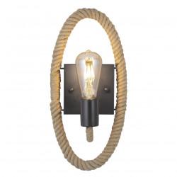 Aplique de pared retro, Serie Lazo, armazón metálico en acabado negro, 1 luz, con armazón de cuerda, SIN bombilla.
