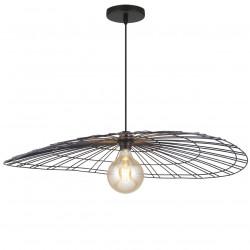 Lámpara de techo colgante moderno, Serie Marni, armazón metálico en acabado negro, 1 luz, con pantalla