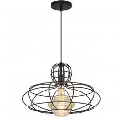 Lámpara de techo colgante moderno, Serie Matera, armazón metálico en acabado negro, 1 luz, con pantalla