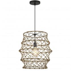 Lámpara de techo colgante retro, Serie Solero, armazón metálico en acabado negro, 1 luz, con pantalla de cuerda.