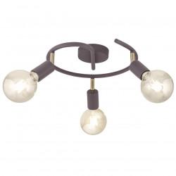 Lámpara de techo, Serie Tenor, armazón metálico en acabado marrón, con elementos en acabado cuero