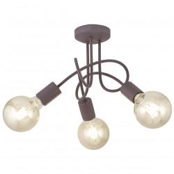 Lámpara de techo moderna, Serie Tenor, armazón metálico en acabado marrón, 3 luces, SIN bombillas.