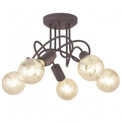 Lámpara de techo moderna, Serie Tenor, armazón metálico en acabado marrón, 5 luces, SIN bombillas.