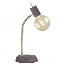 Lámpara de sobremesa moderno, Serie Tenor, armazón metálico en acabado marrón, con elementos en acabado cuero, 1 luz