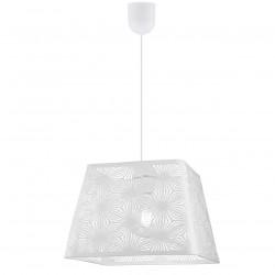 Lámpara de techo colgante moderno, Serie Tulon, pendel blanco, 1 luz, con pantalla metálica en acabado blanco.