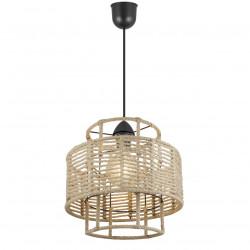 Lámpara de techo colgante retro, Serie Aifos, pendel negro, 1 luz, con pantalla metálica y cuerda.