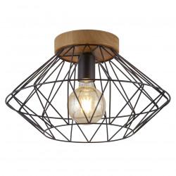 Lámpara de techo plafón, Serie Antibes, armazón de madera, 1 luz, con pantalla metálica en acabado negro.