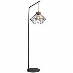 Lámpara Pie de Salón retro, Serie Antibes, armazón metálico en acabado negro, con elementos de madera, 1 luz
