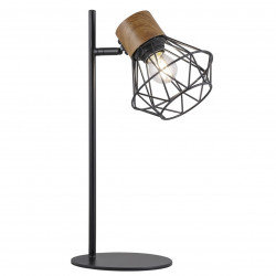 Lámpara de sobremesa retro, Serie Antibes, armazón metálico en acabado negro, con madera, 1 luz