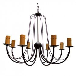 Lámpara de techo clásica con vela, armazón metálico en varios acabados, 8 luces E27 con vela.