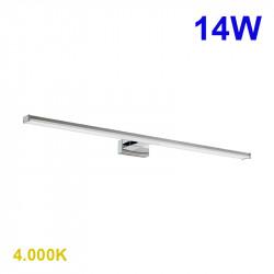 Aplique de pared moderno LED, Serie Pandella 1, armazón de pvc en acabado cromo brillo, LED 14W 1700lm 4.000K