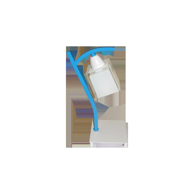 Lámpara de sobremesa infantil, estructura metálica en varios acabados, 1 luz, con tulipa de cristal en acabado alabastro.