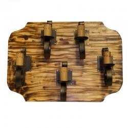 Aplique de pared, estructura de madera y metal en acabado oro viejo, 5 luces, con vela.