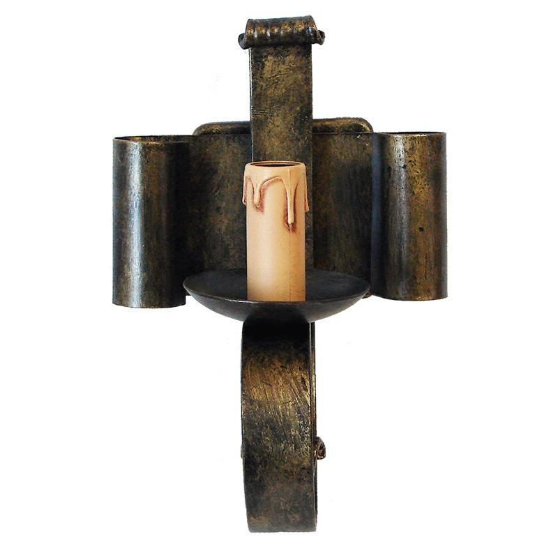 Aplique de pared,  de forja, estructura metálica en varios acabados, 1 luz, con vela.
