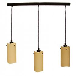 Lámpara de techo moderna, armazón metálico en acabado óxido marrón, 3 luces, regulables en altura, con difusores de vidrio