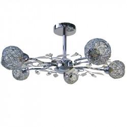 Lámpara de techo, armazón metálico en acabado cromo brillo, 5 luces, con difusores metálicos de rejilla