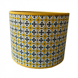 Pantalla para sobremesa, de tela Ø 20 cm, con motivo de flores, para portalámparas E27.