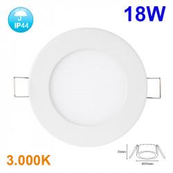 Downlight LED, Serie Fast, empotrable, armazón de aluminio en acabado blanco, 18W 1500lm 3.000K, 120º