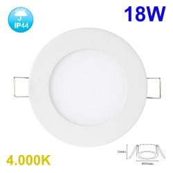 Downlight LED, Serie Fast, empotrable, armazón de aluminio en acabado blanco, 18W 1500lm 4.000K, 120º