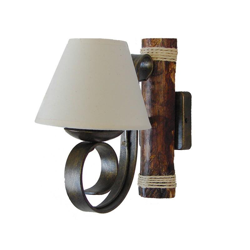 Aplique de pared, de forja, estructura de madera y metal, en varios acabados, 1 luz, con pantalla de tela en acabado retor.