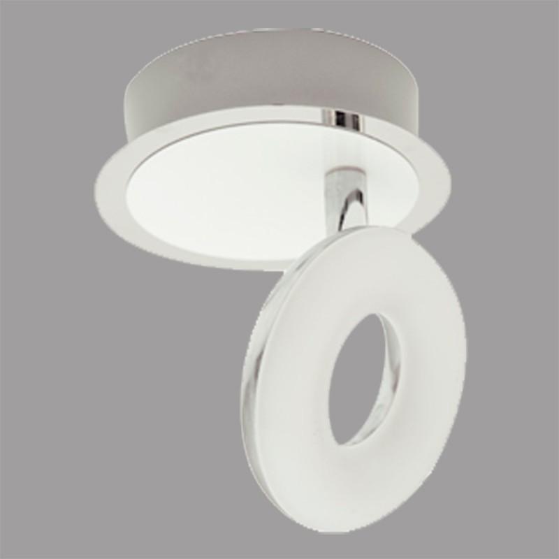 Aplique de pared, tipo foco, en acabado blanco y cromo, iluminación LED integrada, Serie Namibia.